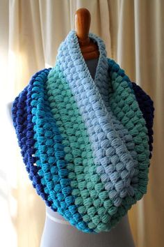 Puff stitch in shades of blue--no pattern but would be easy for experienced crafter to suss out. Great stash buster.
