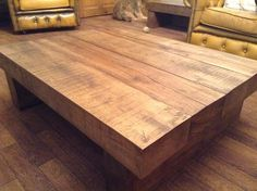 Large Solid Oak Coffee Table. This is a 4 beam one an weighs around 100KG hope the customer likes it :)