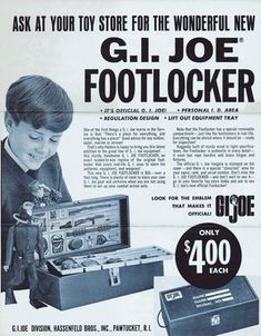 Who could resist the energy of this advertising flyer included with some early boxed Joes? Finally Junior could be taught to pick up his GI Joe. Vintage Toys 1970s, 1960s Toys, Retro Toys, Vintage Ads, Gi Joe, My Childhood Memories, Childhood Toys, 3 D, Old School Toys