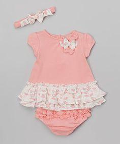 Look at this #zulilyfind! Pink Lace Shift Dress Set - Infant #zulilyfinds