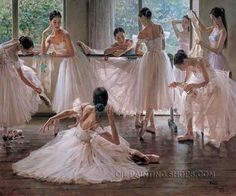 """Stretched Oil Painting Reproductions Ballerina, Size: 40"""" x 30"""", $188. Url: http://www.oilpaintingshops.com/stretched-oil-painting-reproductions-ballerina-1217.html"""