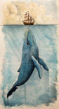 Whale Painting, Painting & Drawing, Watercolor Paintings, Nautical Painting, Watercolor Whale, Whale Drawing, Rock Painting, Watercolour On Canvas, Whale Sketch