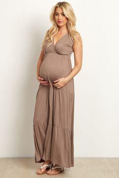 65555bdb245 Mocha Solid Tiered Maternity Nursing Wrap Maxi Dress