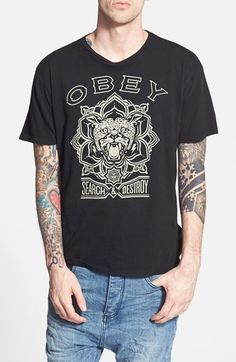 Obey 'Search & Destroy' Regular Fit Graphic T-Shirt