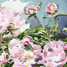 C'EST LA VIV™ Garden Lark Collection_PEONY 8  fabric by cestlaviv on Spoonflower - custom fabric