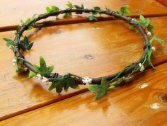 White mini Flowers and green ivy leafs Hair Crown Hair Garland