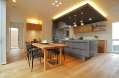 平屋モデルハウス | はなおか Room Interior Design, Kitchen Interior, Kitchen Dinning, Kitchen Decor, Cool Kitchens, Interior Architecture, Sweet Home, House Design, Home Decor