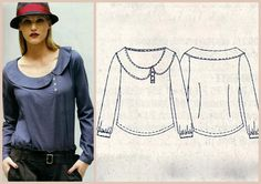 :: paunnet ::: La mia boutique 10/2011 Cute style top, could be replicated.  Might be a nice detail to frame the face.