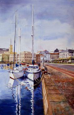 Veleros, dársena A Coruña, acuarela sobre papel. 66 x 105 cm. Manuel Gandullo Nievas