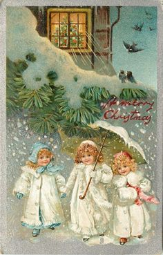 A MERRY CHRISTMAS  three children in white coats, one carrying umbrella, evergreen & house above