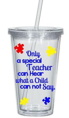 Autism teacher tumbler with name- 16 oz. tumbler with lid and reusable clear straw. Perfect for a therapist or teacher. All colors can be customized for the design. Upon checkout please leave a note with: 1. Color choices (see color chart in last photo) 2. Name for Tumbler  Each tumbler is hand crafted and personally cut using the highest quality vinyl. Because each tumbler is made to order and hand crafted, no two tumblers will be exactly the same.This 16 oz acrylic tumbler is double walled…