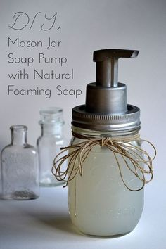 DIY mason jar foaming soap pump from Infinite Style-SHE DOES THIS THE RIGHT WAY!  No loose pumps because she retains part of the original pump bottle. Smart