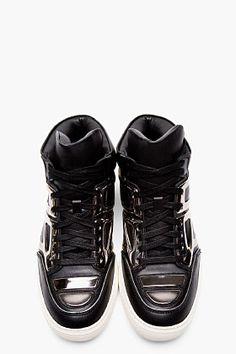 ALEJANDRO INGELMO Black Leather Gunmetal Mid-Top Tron sneakers