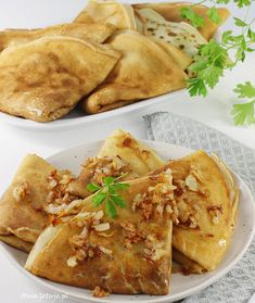 Naleśniki z mięsem. Crepes with meat. Crepes, Cooking Recipes, Meat, Dinner, Ethnic Recipes, Favorite Recipes, Food, Kitchen, Dining