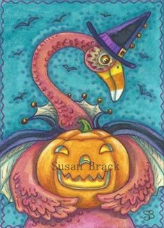 CANDY CORN FLAMINGO ON A HALLOWS EVE - Here's one of my latest birds with lots of Halloween spirit  Original Holiday Art Susan Brack ACEO EHAG CP Licensing