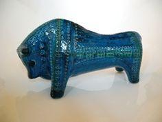 Italian Bitossi pottery bull c. 1953! Rimini blue range for Bitossi Ceramiche.