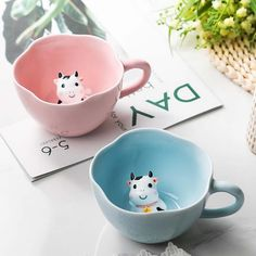 Cute Three-dimensional Little Cow Ceramic Coffee Cup - FeelGift