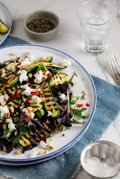Marinated Zucchini Salad with Goat Cheese and Pine Nuts