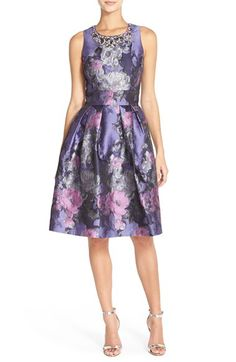 Eliza J Eliza J Embellished Jacquard Fit & Flare Dress (Regular & Petite) available at #Nordstrom