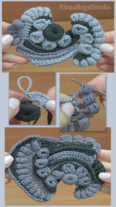 Yarn of two or three colors: wool, acrylic, length 390 m in 100 gram skein. Irish Crochet Tutorial, Irish Crochet Patterns, Crochet Flower Tutorial, Crochet Designs, Crochet Flowers, Freeform Crochet, Crochet Motif, Diy Crochet, Crochet Geek
