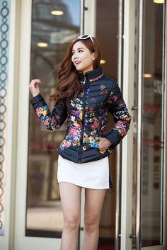 Hot Selling Korea Coats Zipper Floral Pattern Long Sleeve Cardigan Black Street Style Coats