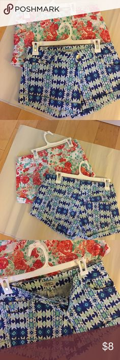 2 pair of shorts Size 5 Celebrity Punk Jeans shorts. Blue pattern and white with flowers. Super cute. Celebrity Pink Shorts