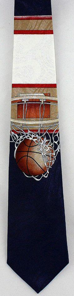New Swoosh! Mens Necktie Basketball Player Net Ball Hoop Blue Sports Neck Tie #StevenHarris #NeckTie