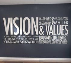Vision & Values Letters Office Wall Art Wall Decal Office Wall Design, Office Wall Decor, Office Walls, Office Art, Wall Art Decor, School Office, Office Ideas, 3d Letters, Letter Wall