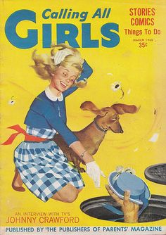 Vintage Calling All Girls magazine - Dachshund and girl - March 1960
