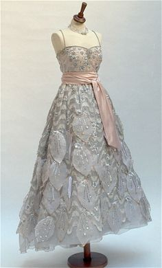 Fontana vintage 1955 formal pale pink evening dress with rhinestones and sequins made for Jacqueline Kennedy