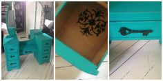 teal dresser with black detailed metal keys proud of this one
