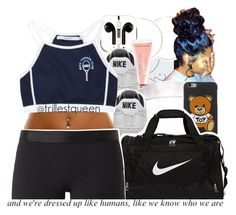 """""""08-15-2016."""" by trillestqueen ❤ liked on Polyvore featuring Topshop, ASOS, PhunkeeTree, Beauty Rush, NIKE, Moschino and Monreal"""