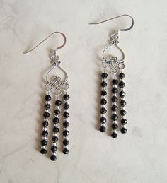 Just Listed! Black Spinel Chandelier Earrings by DKDanglesJewelry