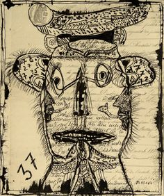 """BOCCA: """"portrait 37"""" encre sur archive"""