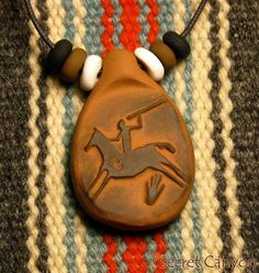 SPIRIT HORSE RIDER--Handmade Clay Pendant - Native American Indian - Rock Art~  Price: $8.95  and FREE Shipping!