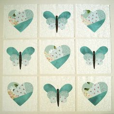 Hearts, butterflies in blue large, applique quilt block by jewlbal4, via Flickr. Those butterflies are all the way cute!