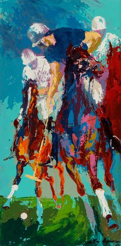 LeRoy Neiman (American, 1921-2012). Blind Brook Polo, 1965. Oil on panel. 23-3/4 x 11-3/4 inches (60.3 x 29.8 cm)