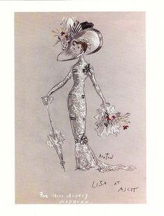 Liza at Ascot    Cecil Beaton's original costume sketch for My Fair Lady