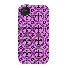 Bubblegum Pink And Black Fleur De Lis Pattern iPhone 4 Cover