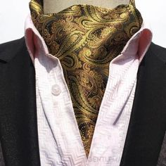Men's Golden Gentleman Silk Ascot/Cravat Tie-Ascot Ties-Gentleman.Clothing - Tech Consulting Solutions-Gentleman.Clothing- www.Gentleman.Clothing, www.gentlemanstore.us Bow ties, Cufflinks, Neckties, Skinny Ties, Lapel Pins, Tie Clips, Pocket Squares, Gentleman Store, Discount price #tiesclip