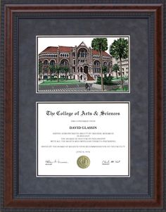 Diploma Frame with Licensed UT Medical Branch (UTMB) Campus Lithograph