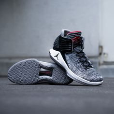 01e3ead2cc6e90 The latest Air Jordan XXXII borrows the black cement colorway from the  famous Air Jordan 3. Get them now on KICKZ.com and in selected stores!