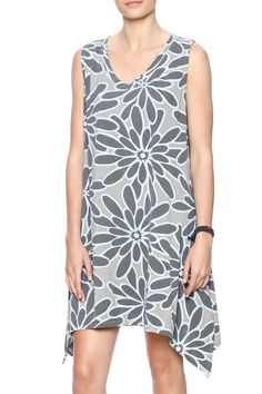 Grey floral printed dress with a v-neckline and asymmetric sides.    Sidetail V-Neck Dress by I Can Too. Clothing - Dresses - Floral Clothing - Dresses - Casual Maryland