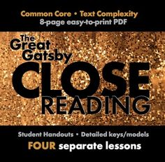 The Great Gatsby, Close Reading Lesson Materials for Four