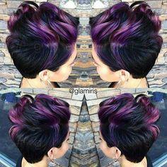 Purple hews with black hair short cut style