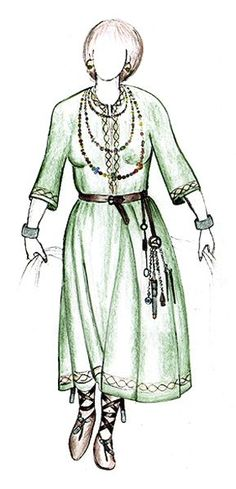 Reconstruction of Avar famale clothing, cca 8th century AD.