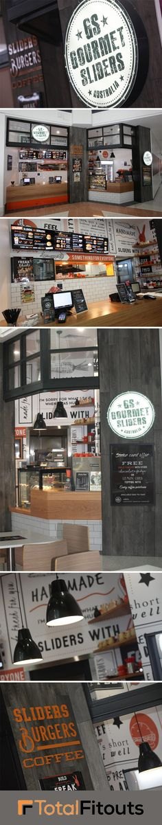 Our Hope Island shop fitters built this nifty business space for Gourmet Sliders, situated in the Runaway Bay Shopping Centre, QLD.  The idea for this small restaurant fit out was to get a 'boutique style' slider joint in a commercial shopping centre.