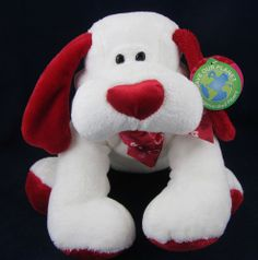 Walmart White Plush Stuffed Puppy Dog Animal Red Heart Nose Feet Save Our Planet