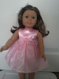 Pink Valentine Dress with White Flocked Hearts for American Girl Doll or other18 inch Doll
