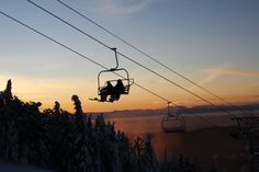 #Sunset #Skiing at Bolton Valley, #Vermont. Not a bad view from the lift.